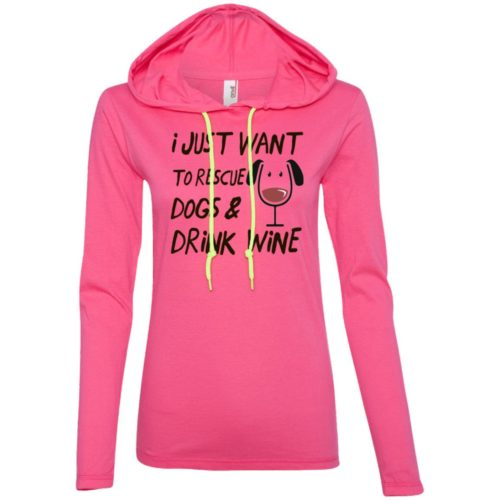 Rescue Dogs & Drink Wine Fitted T-Shirt Hoodie