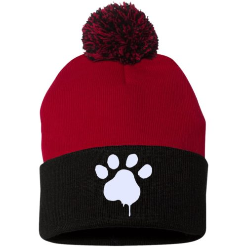 Paint Paw Embroidered Pom Pom Knit Cap