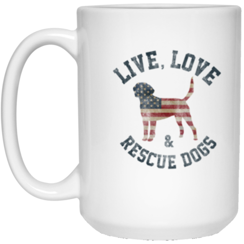 Live, Love & Rescue Dogs 15 oz. Mug