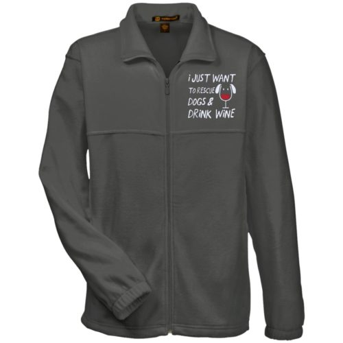 Rescue Dogs & Drink Wine Embroidered Fleece Jacket
