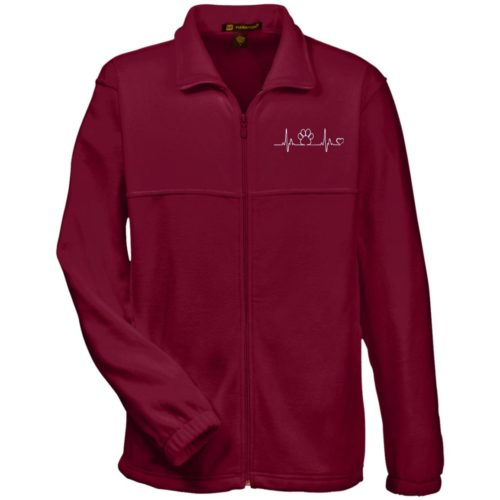 Paw Heartbeat Embroidered Fleece Full Zip Jacket