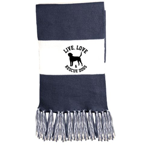 Live, Love, and Rescue Dogs Embroidered Fringed Scarf