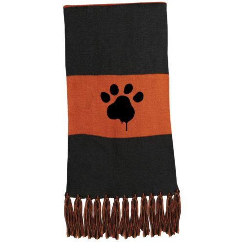 Paint Paw Embroidered Fringed Scarf
