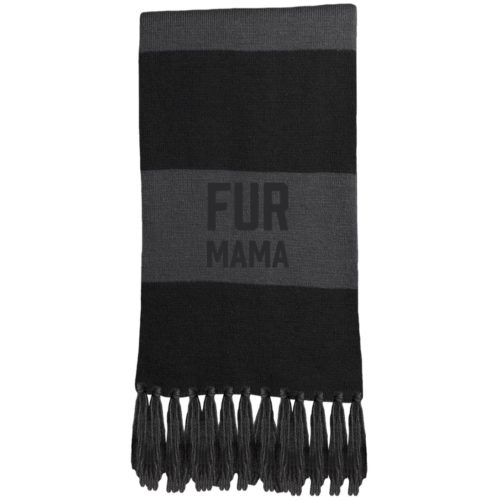 Fur Mama Embroidered Fringed Scarf
