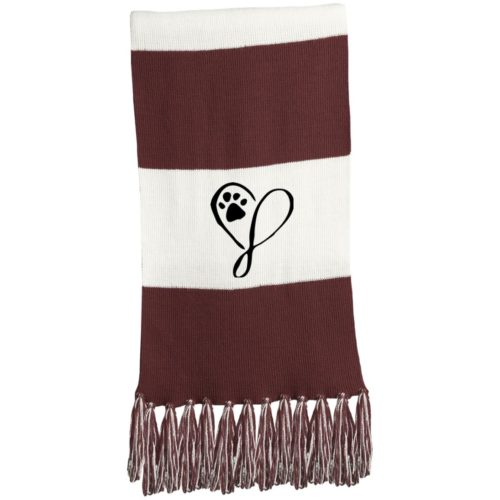 Elegant Heart Embroidered Fringed Scarf
