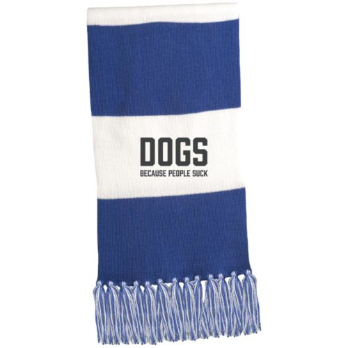 Dogs Because People Suck Embroidered Fringed Scarf