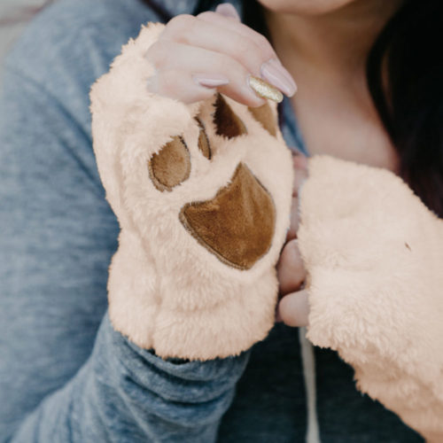Fuzzy Paw Fingerless Gloves - Peach & Brown