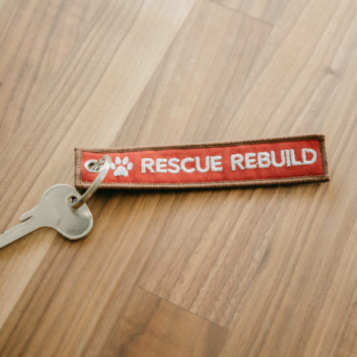Rescue Rebuild Embroidered Canvas Key chain