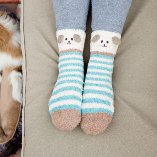 Fuzzy Blue Stripes Doggy Socks