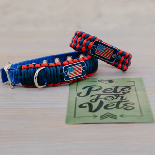 Medium Dog Collar & Red/Blue Matching Bracelet Gift Pack: Each Purchase Helps Pair a Veteran with a Companion Dog