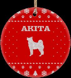 Akita Holiday Ceramic Circle Ornament