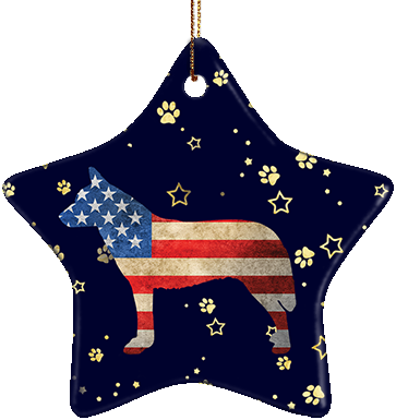 Australian Cattledog USA Ceramic Star Ornament