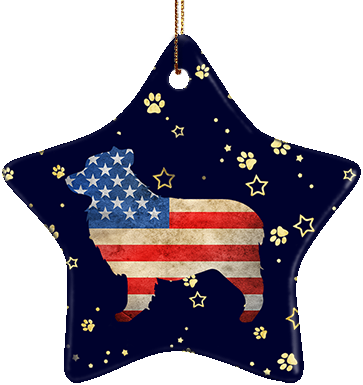 Australian Shepherd USA Ceramic Star Ornament