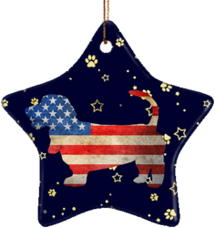 Basset Hound USA Ceramic Star Ornament