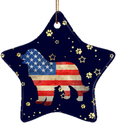 Bernese Mountain Dog USA Ceramic Star Ornament