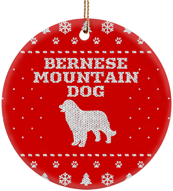 Bernese Mountain Dog Holiday Ceramic Circle Ornament