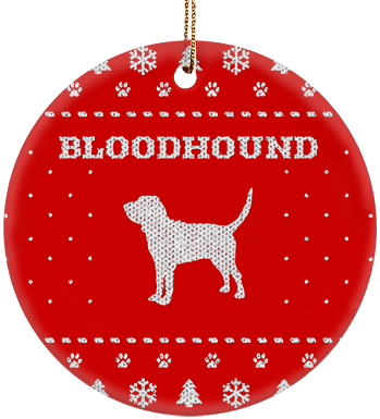 Bloodhound Holiday Ceramic Circle Ornament