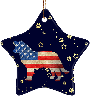 Border Collie USA Ceramic Star Ornament