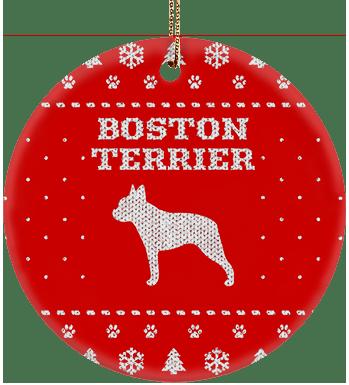 Boston Terrier Holiday Ceramic Circle Ornament