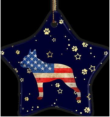 Boston Terrier USA Ceramic Star Ornament