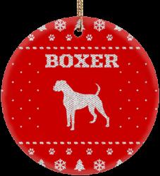 Boxer Holiday Ceramic Circle Ornament