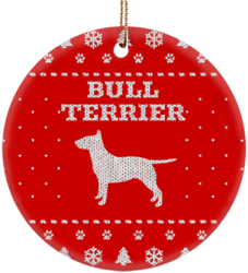 Bull Terrier Holiday Ceramic Circle Ornament