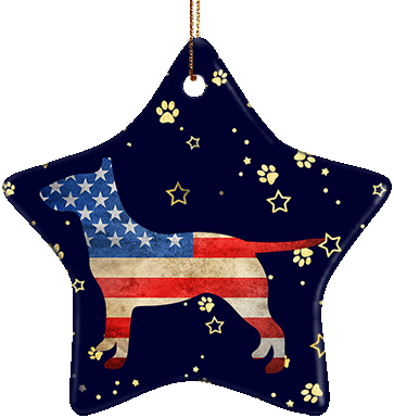 Bull Terrier USA Ceramic Star Ornament