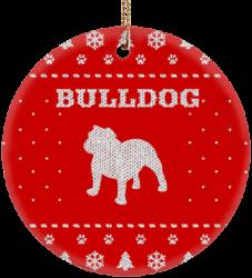 Bulldog Holiday Ceramic Circle Ornament