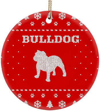 Bulldog Holiday Ceramic Circle Ornament