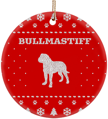 Bullmastiff Holiday Ceramic Circle Ornament