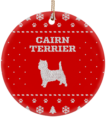 Cairn Terrier Holiday Ceramic Circle Ornament
