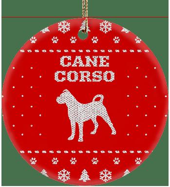Cane Corso Holiday Ceramic Circle Ornament