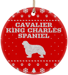 Cavalier King Charles Spaniel Holiday Ceramic Circle Ornament