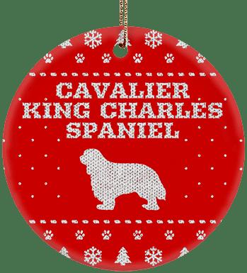 Cavalier King Charles Spaniel Holiday Ceramic Circle Ornament