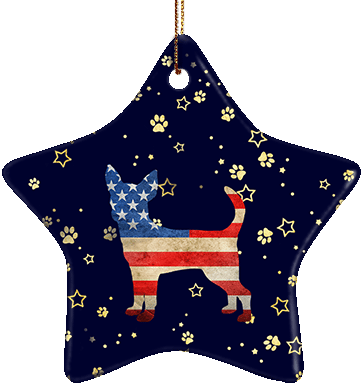 Chihuahua USA Ceramic Star Ornament