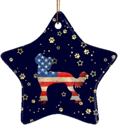 Chinese Crested USA Ceramic Star Ornament