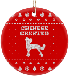Chinese Crested Holiday Ceramic Circle Ornament