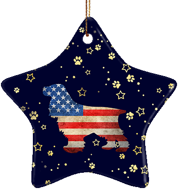 Cocker Spaniel USA Ceramic Star Ornament