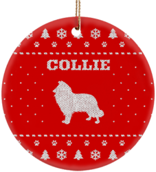 Collie Holiday Ceramic Circle Ornament