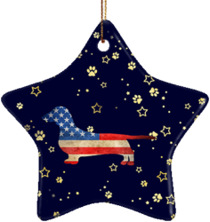 Dachshund USA Ceramic Star Ornament