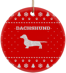 Dachshund Holiday Ceramic Circle Ornament