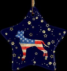 Doberman USA Ceramic Star Ornament
