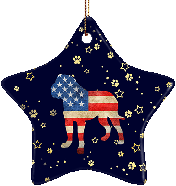 Dogue de Bordeaux USA Ceramic Star Ornament