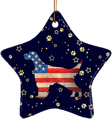 English Setter USA Ceramic Star Ornament