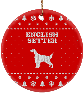 English Setter Holiday Ceramic Circle Ornament