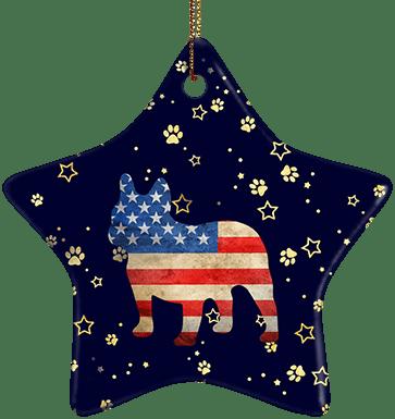 Frenchie USA Ceramic Star Ornament