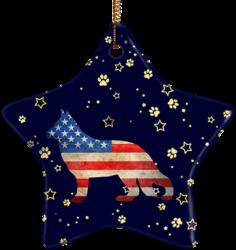 German Shepherd USA Ceramic Star Ornament
