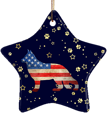 German Shepherd USA Ceramic Star Ornament