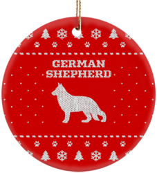 German Shepherd Holiday Ceramic Circle Ornament