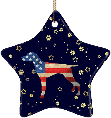 German Shorthaired Pointer USA Ceramic Star Ornament